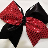 CHEERLEADING BOW - RED SEQUINS / BLACK METALLIC Half & Half (Tick Tock) CHEER BOW - BIG 3 inch wide base ribbon