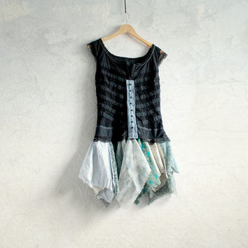 Shabby Chic Women's Black Top Teal Green Tattered Clothes Reconstructed Upcycled Eco Fashion Sleeveless Tunic Lagenlook Top Medium 'LUCY'