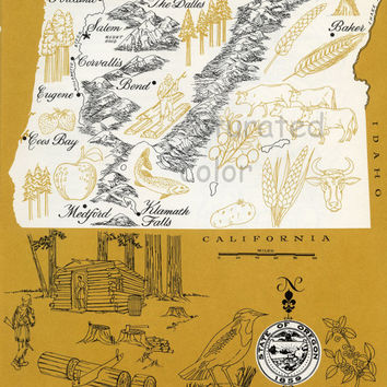 Oregon Map - Mustard Yellow Vintage colorful illustrated map of Oregon - 1960s picture map - Retro Fun Colors