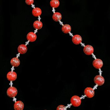 UGHI Italian/Venetian Red Beaded Necklace with Rose Quartz and Yellow Sapphires