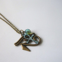 SALE Eye of Horus Necklace || Charm || Egyptian || Ankh || Patina || Horus Charm || Egyptian Pendant || Eye Pendant || Eye Horus