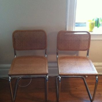 Two Knoll Cesca Cane Chairs by Marcel Breuer MCM