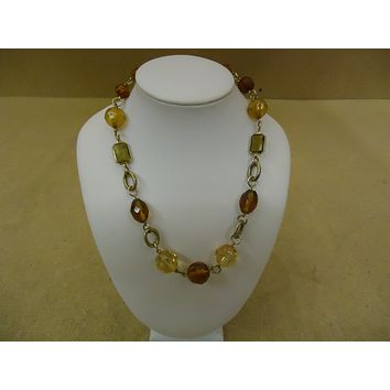 Designer Fashion Necklace 15in L Chain/Link Beads Female Adult Browns/Reds -- Used