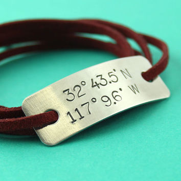 Latitude and Longitude Bracelet Sterling Silver & Faux Suede Wrap Bracelet - Custom stamped