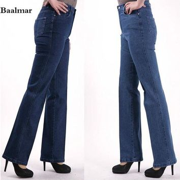 VONG2W 2017 Fashion Women's Straight Jeans Mid Waist Blue Solid Denim Pants Female Classic Loose Legs Jeans High Quality Jeans Femme