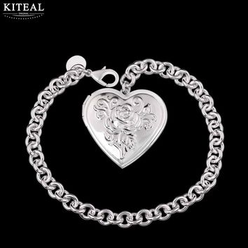 Kiteal Photo Frame Memory Locket Pendant bracelets Silver Color Romantic Love Heart Vintage Rose Flower Jewelry Women Gift P326