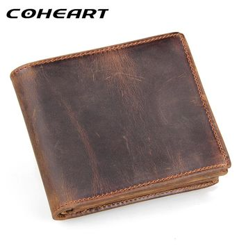 COHEART 100% genuine leather wallet men purses cowhide wallets vintage quality guarantee lether wallet carteira masculina