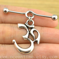 Ohm Om industrial barbell piercing,yoga industrial barbell earring jewelry, ohm om ear jewelry,oceantime