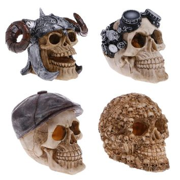 Simulation Head Bone Skull Shape Terrarium Reptile Hide Cave Aquarium Fish Tank Landscape Decor Ornament
