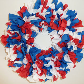 Small Rag Wreath Red White Blue July 4th Fabric Summer  11""