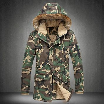 New Brand Winter Men Thick Camouflage Jacket Men's Parka coat Male Hooded Parkas Jacket Men Military Overcoat