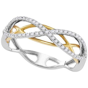 10k 2-tone Gold Women's Diamond Infinity Ring