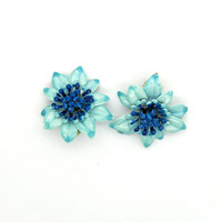 Ice blue vintage enamel earrings for women