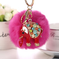 Rabbit Fur Ball Elephant Women's Bag Charm Key Chain