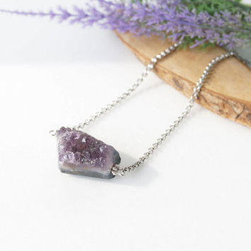 Purple Druzy Amethyst Crystal Stone Necklace on Stainless Steel Chain, Simple Amethyst Jewelry, February Birthstone