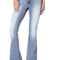 Miss Me Simple Flare Light Wash Denim Jean