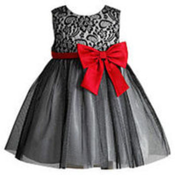 Youngland Girls Black Lace Dress with Red Satin Bow - Infant/Toddler