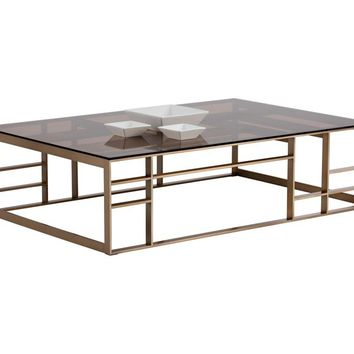 JOAN BRUSHED ANTIQUE BRASS STAINLESS STEEL WITH BROWN TEMPERED GLASS TOP RECTANGULAR COFFEE TABLE
