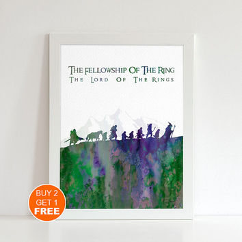 The Fellowship of the ring watercolor Lord of the Rings Middle earth illustration art print, Tolkien middle earth print Holiday gift LOTR