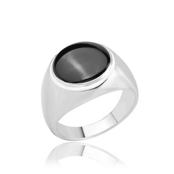 Fashion Vintage Black Stone Jewelry Antique Silver Plated Retro Big Ring For Women Round Midi finger Rings for Men Drop shipping
