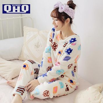 Women Pajama Sets Winter 2017 Autumn Thickening Coral Fleece Sleepwear Girl Pullover Cartoon O-neck Long-sleeve Lady Lounge
