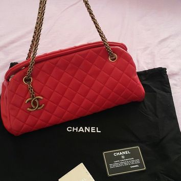 100% AUTH Chanel Mademoiselle Red Leather Bag