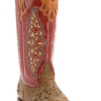 Lucchese® 1883 Red Collection™ Women's Tan Maddog Full Quill w/Red Top Exotic Western Square Toe Boots