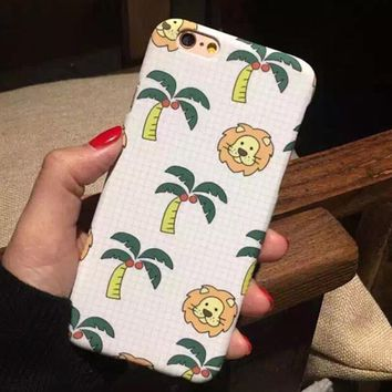 Cute Lion Coconut Tree iPhone 5s 6 6s Plus Case Cover + Nice Gift Box-170928