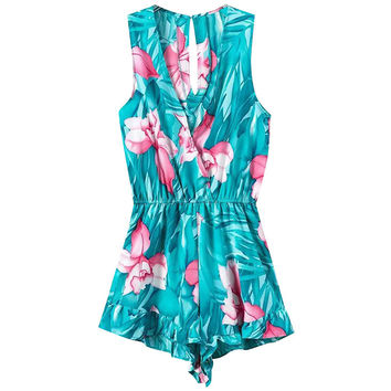 Lotus Print Sleeveless Surplice V Neck Rompers