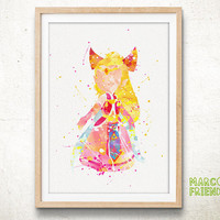 Princess Zelda, Toon Link - Watercolor, Art Print, Home Wall decor, Watercolor Print, Legend of Zelda Poster