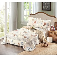 Tache 3 Piece Cotton Cubic Geometric Reversible Bedspread set (DSW009)