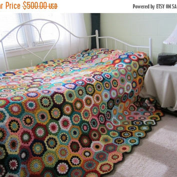 ON SALE - 10% OFF Granny Square Crochet Blanket...Queen size  Crochet Afghan...Colorful  Patchwork Afghan...