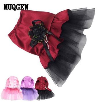 DCCKU7Q Rushed Sale New Dog Cat Bow Tutu Dress & Sweet Lace Skirt Pet Puppy Dog Clothes Costume 2016 dogs clothes Smile #03H