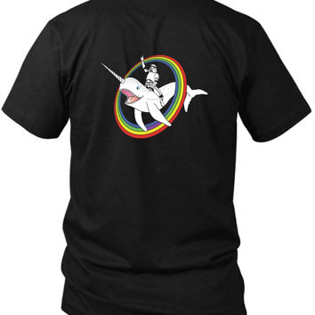 Narwhal Rainbow Stormtrooper 2 Sided Black Mens T Shirt