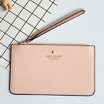 Kate Spade 2017 new love cell phone bag zipper clutch macarons card package tide package Light pink