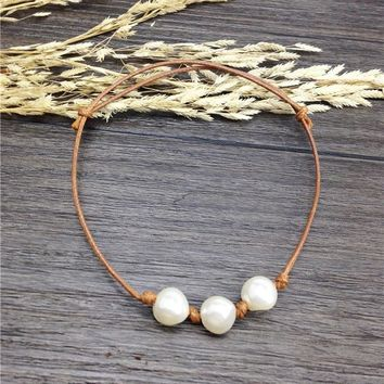 8mm cultured freshwater pearl bangle real three pearls bracelets white floating pearl brown knotted leather bracelet pulseras