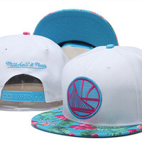 Golden State Warriors Logo Flower Bill Mitchell & Ness White Snap Back Hat