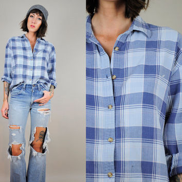 plaid faded 90's GRUNGE flannel Boyfriend Raglan soft Oversized Lumberjack shirt worn-in os