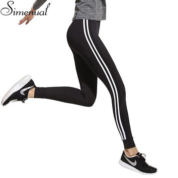 Fitness athleisure women leggings 2017 new arrival striped slim splice black long leggins clothes ladieswear legging ladieswear