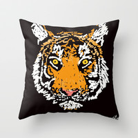 Tiger Face Throw Pillow by Trinity Bennett