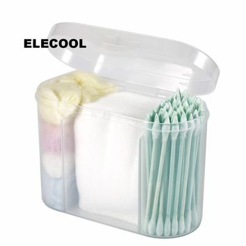 ELECOOL New Sweet Storage Box with Cotton Swab & Cotton Pads Double-head Swab Stick Makeup Beauty Set