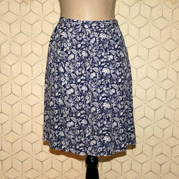 Womens Full Skirt Midi Skirt with Pockets Floral Blue White India Print Skirt Rayon Viscose Medium Size 10 Skirt Garnet Hill Womens Clothing