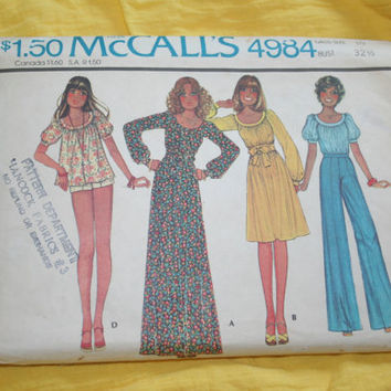Peasant Dress Blouse Pants Vintage 70sPattern UNCUT McCalls 4984 Size 10  Boho Fun