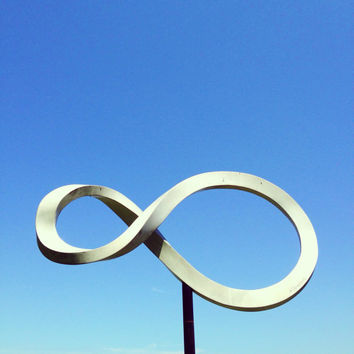 Infinity symbol fine art photography print (minimal art, blue sky, metal sculpture, modern wall decor)