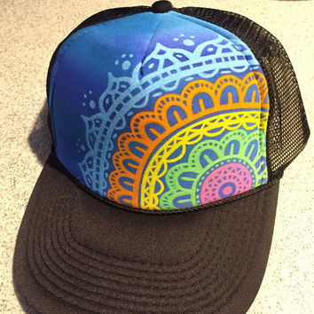 Hand painted mandala trucker hat, boho bohemian love