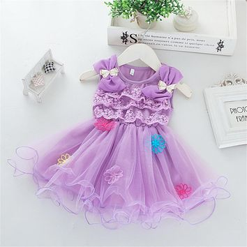 Elegant Lace Layered Dresses Girls Cotton Lace Flower With Diamond Bow Kids Infant Wedding Gown Clothes