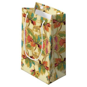 Vintage Turquoise Orange Floral Wallpaper Pattern Small Gift Bag