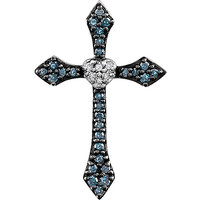 14K White Blue & White 1/8 CTW Diamond Cross Pendant