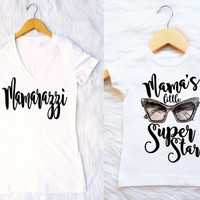 MOMMY and ME Mother daughter Mamarazzi matching tees tshirt shirts mama's little superstar