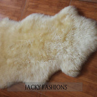 100% Natural One Pelt Australian Sheepskin Rug Ivory White Fur 2x3ft